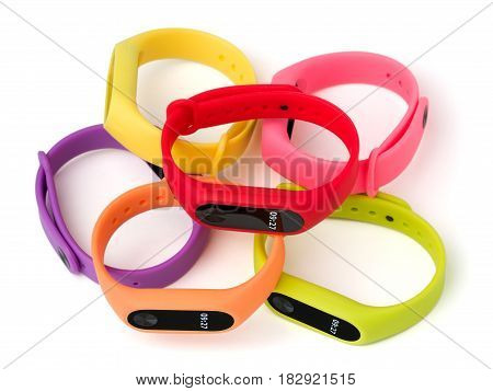 Set of colored fitness bands, isolated on white background