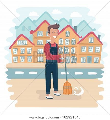 Vector funny illustration of Street Sweeper at Work, street cleaner, public sector worker. Town landscape