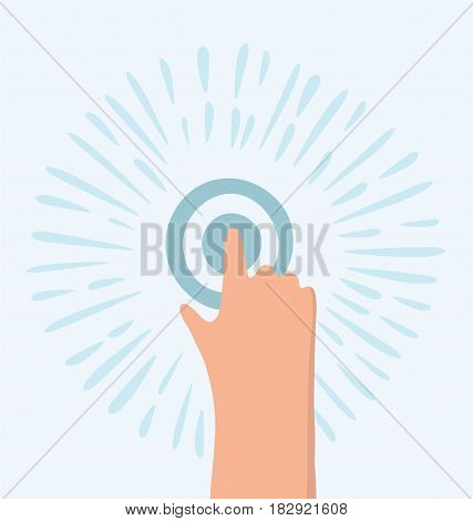 Vector cartoon funny illustration hand touch / tap gesture icon for apps and websites