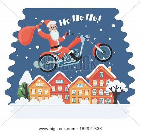 Vecor cartoon comic funny illustration of Super Santa Claus coming from sky with christmas presents riding on motorcycle. Flying above towns houses in the night. Snowy landscape