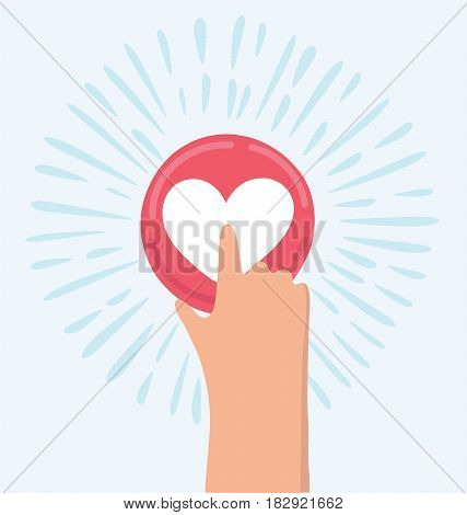 Vector cartoon funny illustration of hand pressing like heart button, valentine day, charity and social activity. Unusual icon of social media