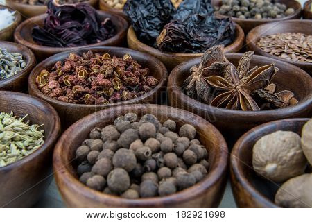 Szechuan Peppercorns In Bowl Among Other Spices