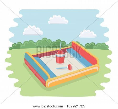 Vector cartoon funny illustration of sandbox with children scoop, rakes and baby bucket with sand