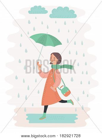 Vcetor illustration of cute vector girl walking in the rain with umbrella Cloud and puddle