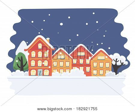 Vector cartoon illustration of Christmas town illustration. Winter landscape. Greeting card with fairy tale houses. Snowy town at holiday eve.