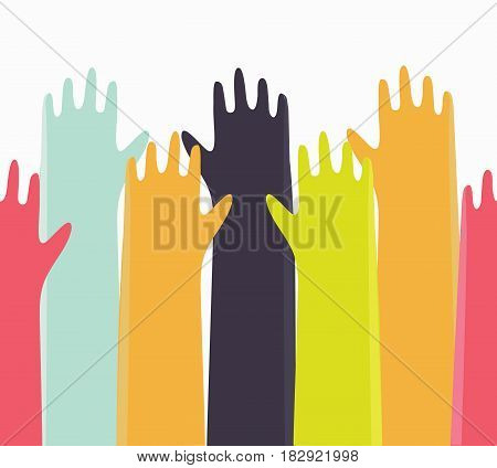 Vector horisontal seamless background. Cartoon illustration of colorful up hands.