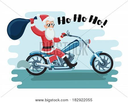 Vector cartoon illustration of Santa Claus motorcyclist in sunglases say Ho Ho Ho!