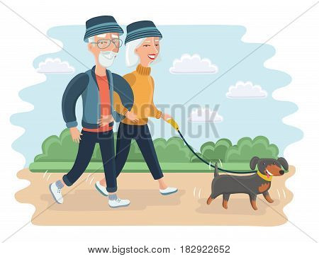 Vector cartoon illustration of senior people. Elderly couple walking in the park with dog