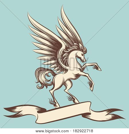 Hand drawn vintage Pegasus with wings and ribbon banner. Vector illustration