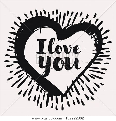 Black and white vector love cards template. Hand drawn lettering in ink patterns, calligraphic phrase for your design: I love you. Graphic elements for print and posters or postcards.