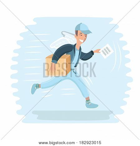 Vector cartoon illustration of winged deliveryman flying with package. Courier. Fast delivery