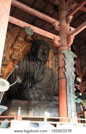 The Great Buddha Of Todai Ji In Nara, Japan