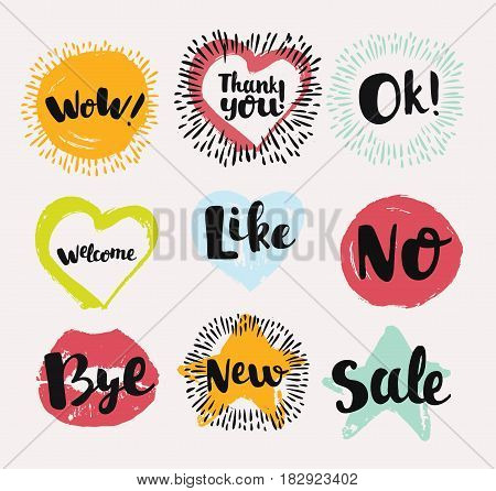 Colorful various vector Labels in hand drewn ink like Useful Symbols in speech bubbles. Like, Ok, New, Wow, No, Like, Sale, Welcome, Thank You, Bye on dark background
