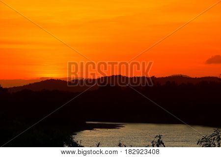 reflection river and shadow tree in water beautiful with sunset nature in sky twilight time