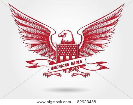 Sketched american bald eagle with shied with stars and stripes and ribbon banner. Vector eagle emblem design