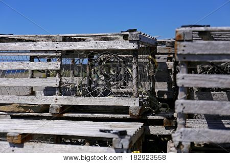 a bunch of wooden lobster traps, East Coast Canada