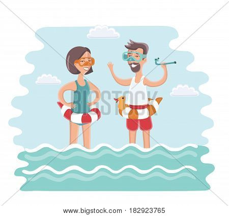Vector illustration of couple standing in sea water with diving mask on their faces and diving tube in theirs hands