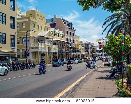 HAMILTON BERMUDA - MAY 27 - Scooters are a popular means of transportation for tourists and locals on May 27 2016 in Hamilton Bermuda.