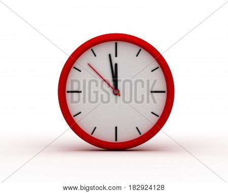 Red Modern Wall Clock (computer generated image) 3D Rendering