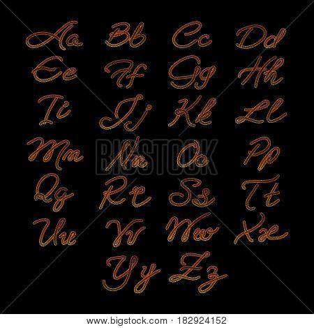 Rope imitation ABC, colorful alphabet isolated on black background. Vector illustration