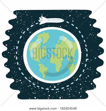 Vector cartoon funny illustration of space shuttle orbit around the Earth