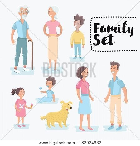 Vector funny cartoon family member set. People generations at different ages. Man and woman aging - baby, child, teenager, young, adult, old people and dog