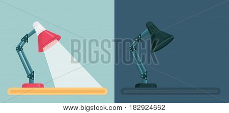 Vector cartoon illustration of Switch Off and On table lamp. The flow of light