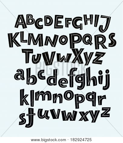 Vector hand drawn bold comic funny black english alphabets in vintage style uppercase and lowercase letters derocrated with stripes