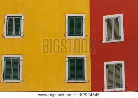 Red and yellow wall traditional mediterranean arcitecture