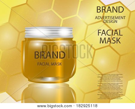 Facial Mask for Skin on the sparkling Background Concept Skin Care Cosmetic. Mock-up of mask jar. Blank template of packaging for cosmetic product.