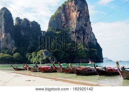 longtail boats on railay beach krabi thailand