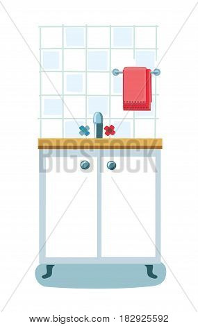 Vector illustration of kitchen sink and kitchen cupboard, kitchen towel.