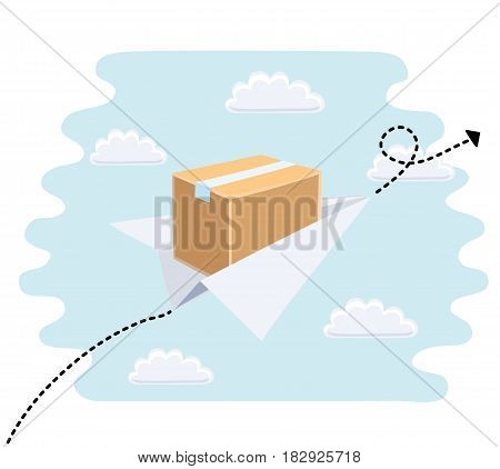 Cartoon cute illustration of paper toy airplane flying in the sky with package. Fast delivery and flight path