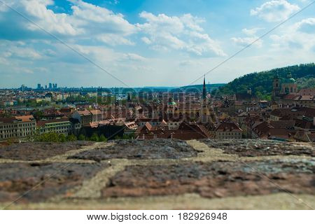 Panorama view from castle in Prague capital