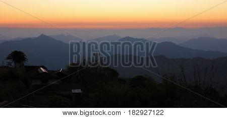Mountain ranges near Pokhara. Sunset view from Baglungpani Nepal.