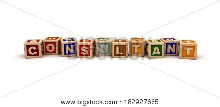 Consultant Text Cube (isolated on white) 3D Rendering