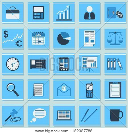 Business and office flat design style vector icons collection