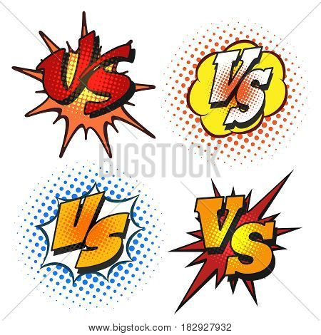 Vector versus letters or VS icons in cartoon grunge style. Battle confrontation patches isolated on white background