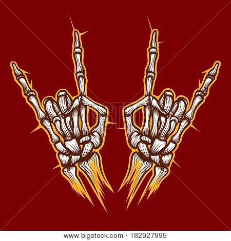 Skeleton bones hands heavy metal or rock music sign vector background