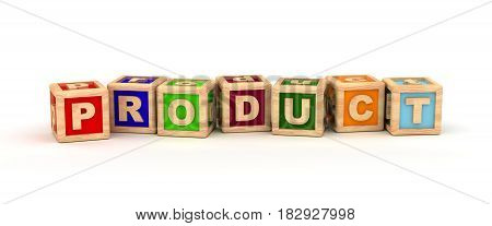 Product Text Cube (isolated on white) 3D Rendering
