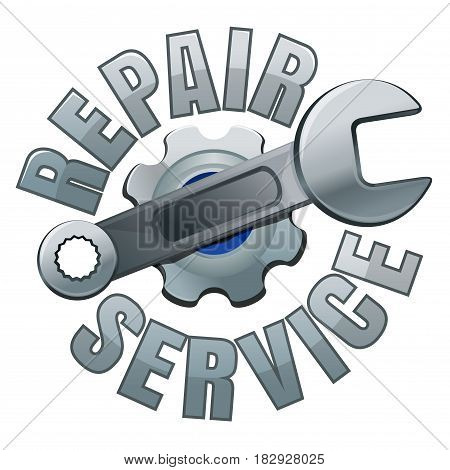 Wrench and gear. Repair service emblem. Wrench on a background of gearwheel. Vector logo illustration