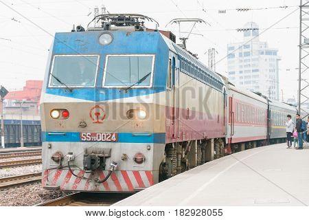 Henan, China - Oct 03 2015: China Railways Ss7D Electric Locomotive In Gongyi Railway Station, Henan
