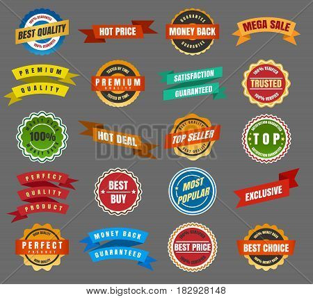 Round labels and stickers, ribbon dockets and tags, rounded badges vector set
