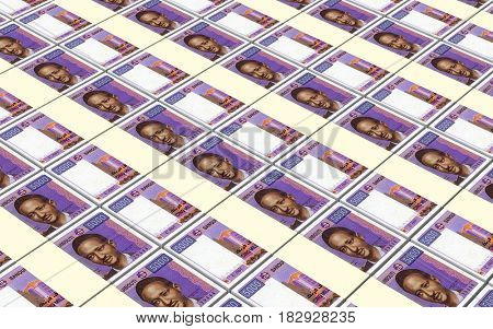 Djiboutian franc bills stacks background 3D illustration.
