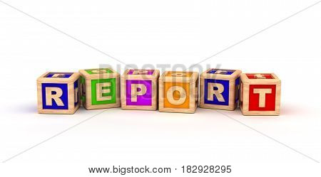 Report Text Cube (isolated on white) 3D Rendering