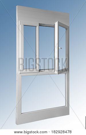 Wooden panel one door double window in combination with aluminum view on inside