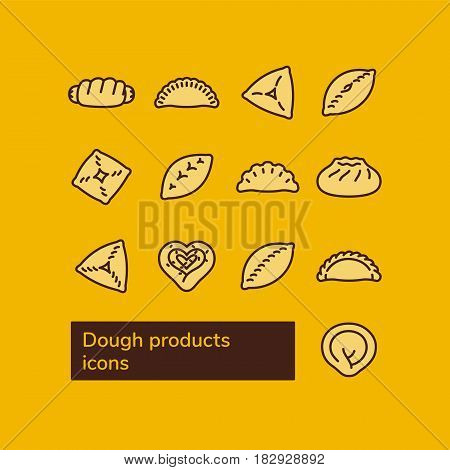 Dough products. Russian food. Vector line icons.