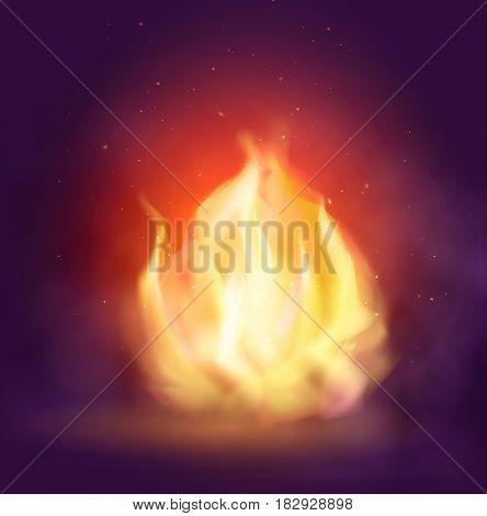 Bonfire. Fire flame on dark background. Colorful vector illustration.