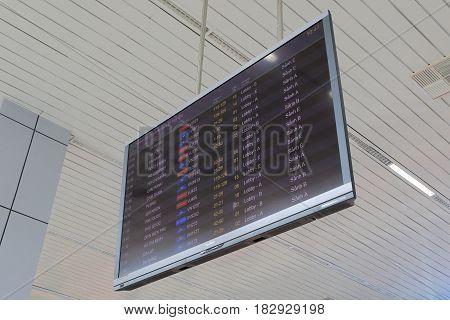 HANOI VIETNAM - NOVEMBER 25, 2016:Departure information displays flight schedules at Hanoi International airport.
