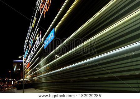 BEER SHEVA ISRAEL - MAY 19 2016: Illumination of the shopping center at night